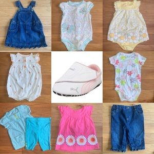 Lot Baby Girl 6mo Clothes + Pumas + HALO sleepsack